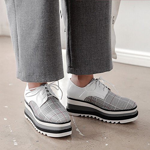 Voet Van De Voet Womens Chique Lace-up Sleehak Platform Schoenen Geruit Wit