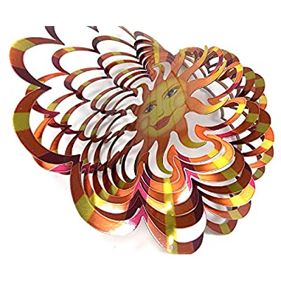 WorldaWhirl Whirligig 3D Wind Spinner Hand Painted Stainless Steel Twister Sun Face (12