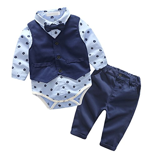 [Infant Baby Boys' Outfit Bowtie Sailboat Print Bodysuit Shirt Vest Pants Set 6M] (Panda Outfits For Babies)