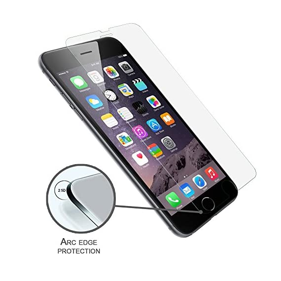 Luvvitt Tempered Glass Screen Protector for Apple iPhone 7 (2016) and iPhone 8 (2017) - Crystal Clear 4 iPHONE 7 TEMPERED GLASS SCREEN PROTECTOR: Compatible with iPhone 7. Doesn't interfere with the fingerprint home button. PREMIUM GRADE: Japanese Asahi Tempered glass with 9H+ scratch resistant surface (almost as hard as a diamond with highest resistance at 10H) ULTRA CLEAR: Shock-resistant layer under the glass. High touch sensitity.
