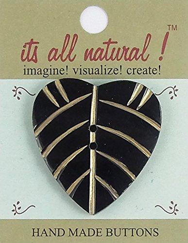 Horn Buttons - Natural Handmade - Black/Gold - 46x52mm - Heart Shaped Leaf - 1 (Natural Leaf Shaped Beads)