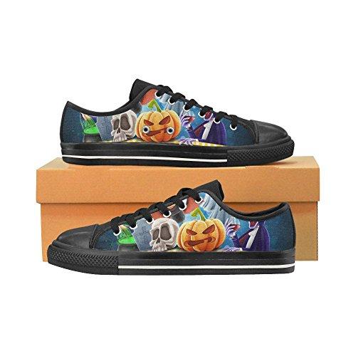 D-story Anpassade Lyckliga Halloween Pumpa Kvinna Klassiska Tygskor Mode Sneaker Multicoloured20