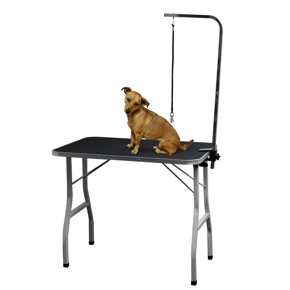 Grooming Table for Dogs - Tables Stand Pet Supplies Best for Small Medium Large Dog & Cat - Portable Restraint Holder w/Arm, Clamp & Hanging Noose Loop Adjustable Height Professional Groomer Station by Paws & Pals