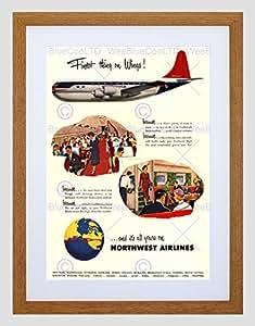 Anuncio 1954Northwest Airlines vuelo viaje negro enmarcado arte impresión B12X 10507 12 x 16 in - 30.5 x 40.7 cm Light Oak