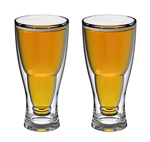 - QG 28 Ounce Clear Acrylic Plastic Double Wall Upside Down Beer Glass Set of 2