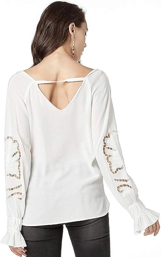 Lovewe Women Loose Size T-Shirt Solid Color V Collar Long Sleeve Shirt Bottom