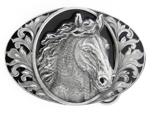 Diamond Cut Belt Buckles Horses - Pewter Belt Buckle - Horse Head (Diamond Cut)