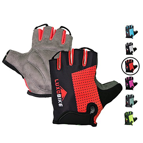 - LuxoBike Cycling Gloves Bicycle Gloves Bicycling Gloves Red Mountain Bike Gloves – Anti Slip Shock Absorbing Gel Padded Breathable Lycra Half Finger Road Cycling Clothing for Men Boys Woman