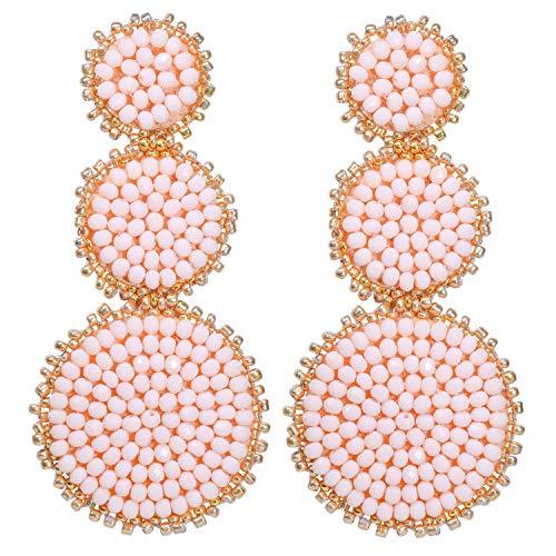 Statement Earrings Beaded Earrings for Women - Round Disc Drop Earrings Crystal Layered Earrings Long Chandelier Earrings Idea Gift Light Pink