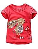 Summer Baby Girls T Shirt Cartoon Rabbit Print Cotton Tops Tees T Shirt