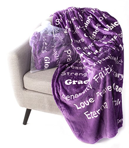 BlankieGram Faith Throw Blanket with Inspirational Thoughts and Prayers (Purple)