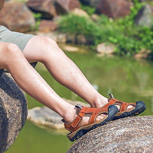 Estate per Casual L'escursionismo Chiusi Alpinismo da Pelle Sandali Piscina Brown All'aperto Spiaggia Romane DSFGHE Scarpe Uomo Vera Antiscivolo Scarpe q6wz5PxZtW