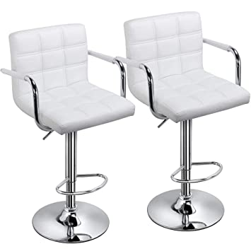 finest selection 4dab1 bffd5 Yaheetech Set of 2 Swivel Bar Stools Kitchen Breakfast Bar Stools Chair  with Backs and Arms with 41CM Stable Base (White Bar Stool)