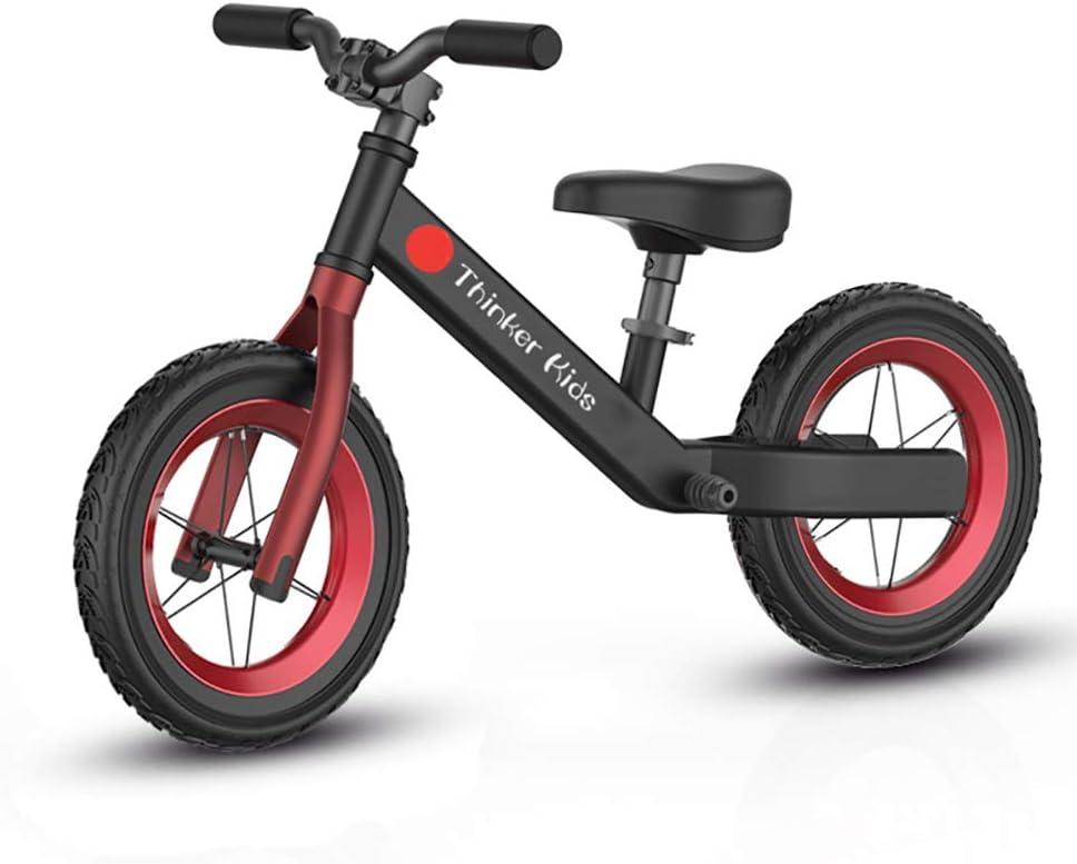 ANYWN Niños Bicicleta de Equilibrio de Bicicletas Bike Training niños sin Pedal Ligero Estructura del Asiento Ajustable con neumáticos de Aire Kids First Edad de Bicicletas 1,5 a 6 años,Negro