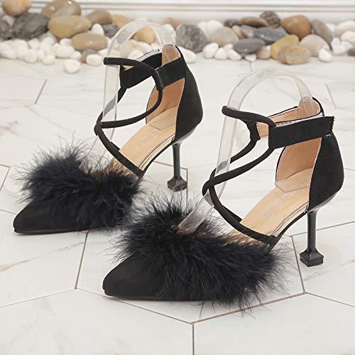 Yukun zapatos de tacón alto Zapatos Individuales para Mujer, Aguja De Punta Ancha, Boca Poco Profunda, Tacones Altos Black