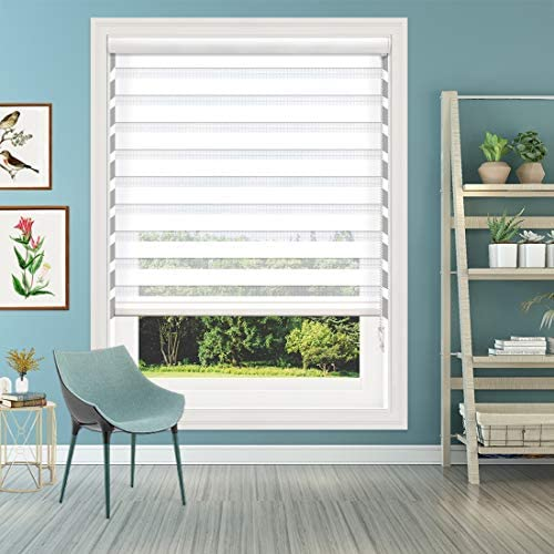 Keego Window Blinds Custom Cut to Size, White Zebra Blinds with Dual Layer Roller Shades, Size W 72 x H 56 Dual Layer Sheer or Privacy Light Control for Day and Night