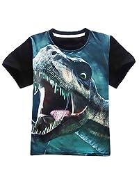 OUYAWEI Children Boy Round Neck Short-Sleeve T-Shirt Cartoon Dinosaur Printing Tops