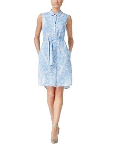 Klein Calvin Klein Sleeveless Belted Shirt Dress Blue/White 6
