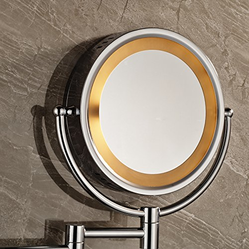 Ohcde Dheark Wall Mounted Round Magnifying Bathroom Mirror Led Makeup Cosmetic Mirror Make Up Lady'S Private Mirrors