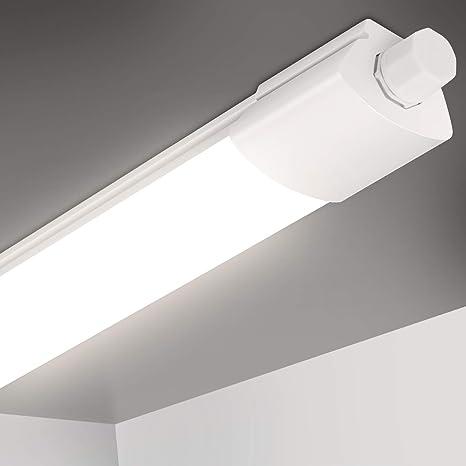 Image of Oeegoo 120cm Tubos Lámpara LED de Techo, IP65 Impermeable Tubo fluorescente, 25W 2800LM Led Lámpara de Baño conexión en serie (máx. 6 piezas) para Fábrica Garaje Sotáno Baño Oficina Balcón 4000K           [Clase de eficiencia energética A+]