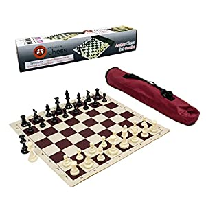Wholesale Chess Archer Chess Set Combo - Burgundy Chess Board & Bag