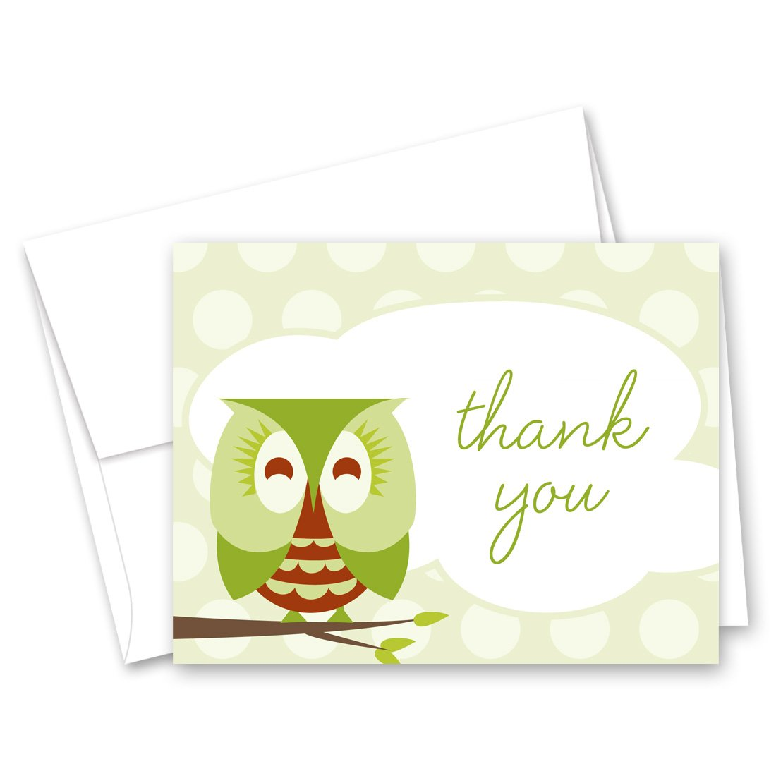 50 Cnt Sleepy Owl Green Baby Shower Thank You Cards
