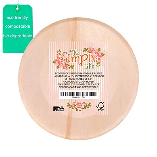 """Disposable Bamboo Wood Plates, Eco-Friendly Sturdy Elegant Party Dinner Plates 8.5"""" Pack of 25, Strong Perfect for Dinner, Wedding, Camping or Barbecue Easy Clean-up!"""