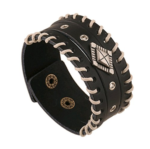 Punk Mens Leather Wide Leather Bracelet Wristband Mens Wide Leather Bracelet (Beaded Domino)