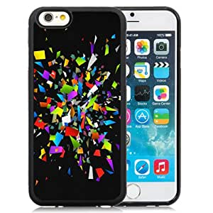Fashion Custom Designed Cover Case For iPhone 6 4.7 Inch TPU Phone Case With Colorful Glass Shattered Pieces_Black Phone Case