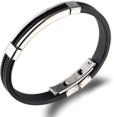 Silver Stainless Steel Black Silicone Rubber Link Wristband Cuff Bangle Bracelet