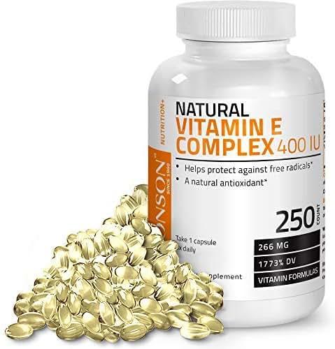 Natural Vitamin E Complex Supplement 400 I.U. (80% D-Alpha Tocopherol), Natural Antioxidant Helps Protects Against Free Radicals, 250 Softgels
