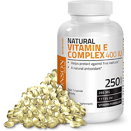 Natural Vitamin E Complex Supplement 400 I.U. (80% D-Alpha Tocopherol), Natural Antioxidant Helps Protects Against Free Radicals, 250 Softgels ()