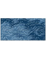 Sea World Mono Rectangle Tablecloth Large Dining Room Kitchen Woven Polyester Custom Print