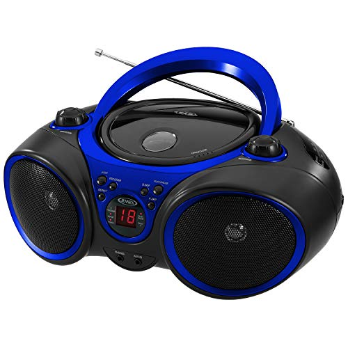 Jensen CD-490 Portable Sport Stereo CD Player with AM/FM Radio and Aux Line-in & Headphone Jack (Blue) (Cd Ipod Boombox)