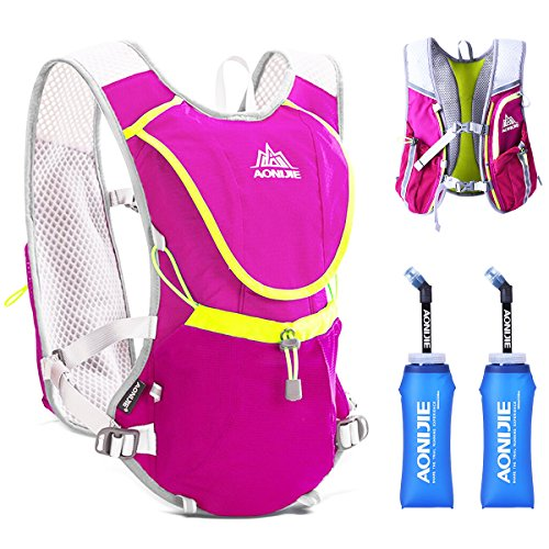 TRIWONDER Hydration Pack Backpack Professional 8L Outdoors Mochilas Trail Marathoner Running Race Cycling Hydration Vest (Rose Red - with 2 Soft Water Bottles (350ml))