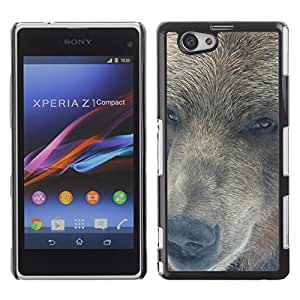 EJOY---Cubierta de la caja de protección la piel dura para el / Xperia Z1 Compact D5503 / --Retrato del oso