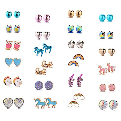 Aganippe 24 Pairs Hypoallergenic Girls Kids Stud Earring Set Unicorn Heart Mermaid Scales Rainbow Pearls Owl Rhinestone Cute Mixed Color Stainless Steel Stud Earring Nickel Free (E0847) (Sets Kid Earring)