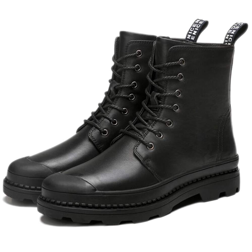 nihiug Martin Bottes Hommes Bottes Automne Adultes Bottes Classiques Cuir Classique Automne Bottes Hiver Chaussures Montantes en Cuir, Chaussures pour Hommes Et Velours,Black-43 cb45b9
