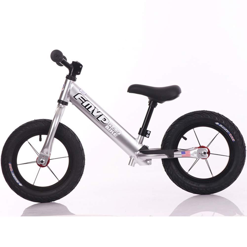 バランスバイク、エアレス Rubberskin タイヤなしペダルスポーツトレーニング自転車調整可能なハンドルバーとシート軽量 14inches Silver B07PB4TPPS