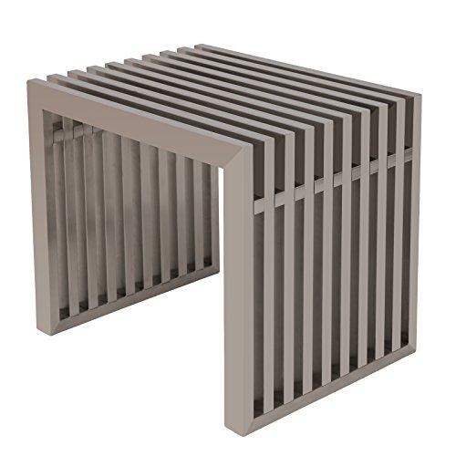 "LeisureMod Eldert 19"" Modern Stainless Steel Bench in Silver (Brushed)"