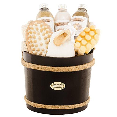 BRUBAKER 9 Pcs Wooden Spa Bath Gift Basket - Cocoabutter