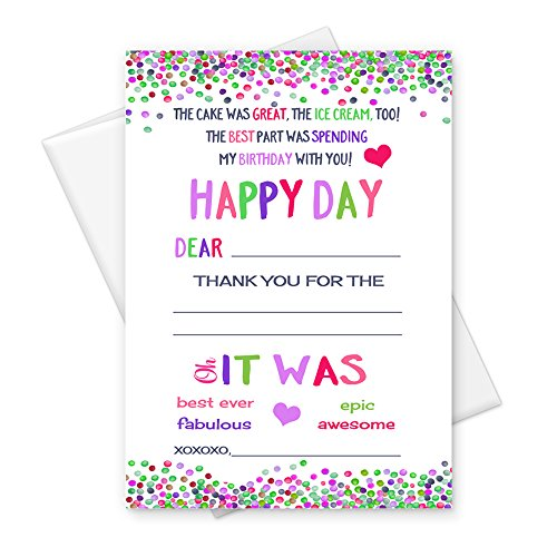 Kids Birthday Party Fill-In Thank You Card Pink, Lilac & Lime Confetti Dot Set of 15 - Lilac Card