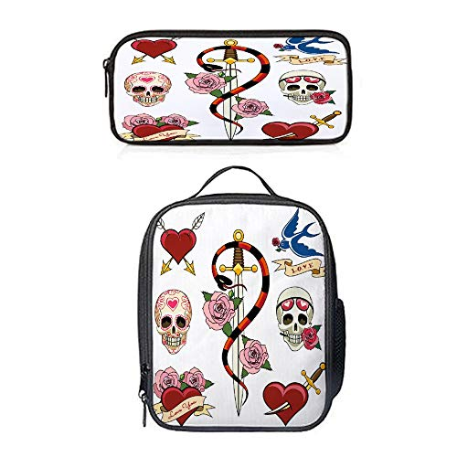 (SARA NELL Various Heart Skull And Dagger Tattoo Graphics Lunch Bag Tote Lunch Backpack with Pen Bag Pouch Pencil Case for Kids)