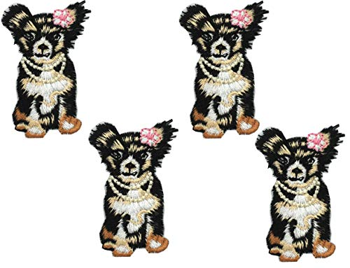 - 4Pcs Puppy Embroidered Small Animal Patch Floral Applique Sew on Patch Badge for Lace Fabric Clothes DIY Embroidery Patches