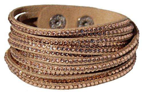 Velvet wrap bracelet with Rhinestones - Rose Gold Color