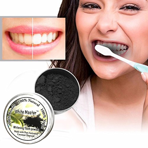 Teeth Whitening Powder Natural Organic Activated Bamboo Charcoal Toothpaste Dental Whitener Care by Staron (Black)