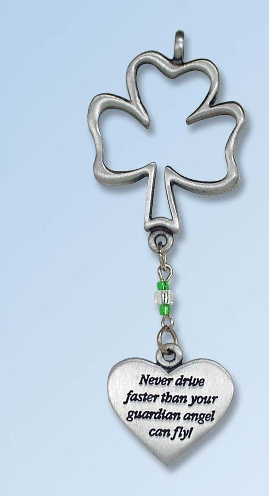 Cathedral Art KT231 Never Drive Faster Shamrock Ball Chain Car Charm