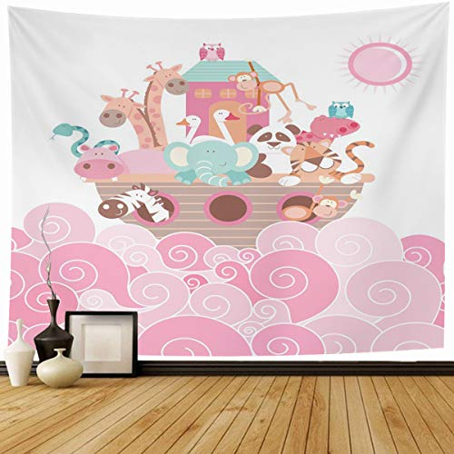 Ahawoso Tapestry Wall Hanging 60x50 Baby Noahs Ark Pink Wildlife Noah27s Jungle Nursery Elephant Waves Boat Home Decor Tapestries Decorative Bedroom Living Room Dorm
