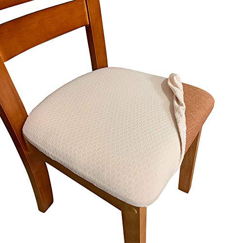 - Melaluxe 4 Pack Stretch Dining Room Chair Seat Covers, Removable Washable Jacquard Anti-Dust Upholstered Kitchen Chair Seat Cushion Slipcovers (Beige)