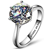 Erllo 4ct Round Brilliant Nscd Sona Simulated Diamond Solitaire Wedding Engagement Ring - Finger Size 4-10